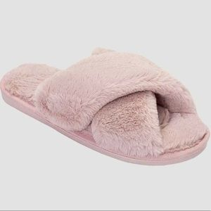 Rose Criss Cross Fuzzy Faux Fur House Slippers